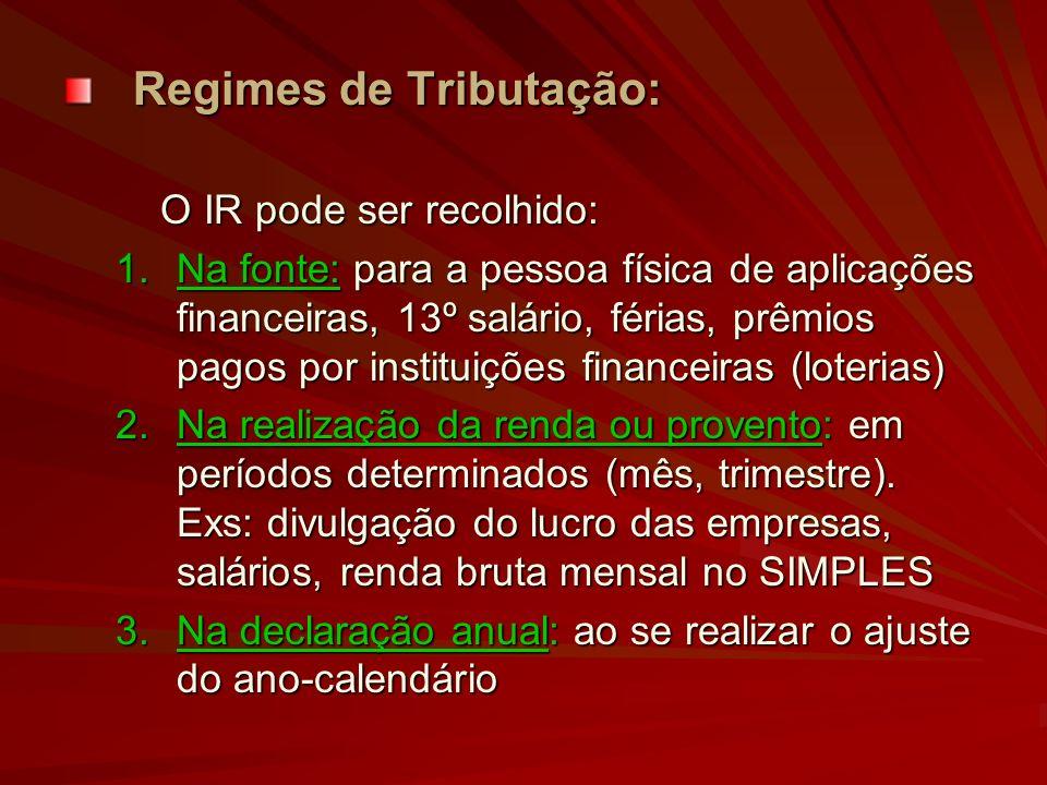 Regimes de Tributação: O IR pode ser recolhido: O IR pode ser recolhido: 1.Na fonte: para a pessoa física de aplicações financeiras, 13º salário, féri