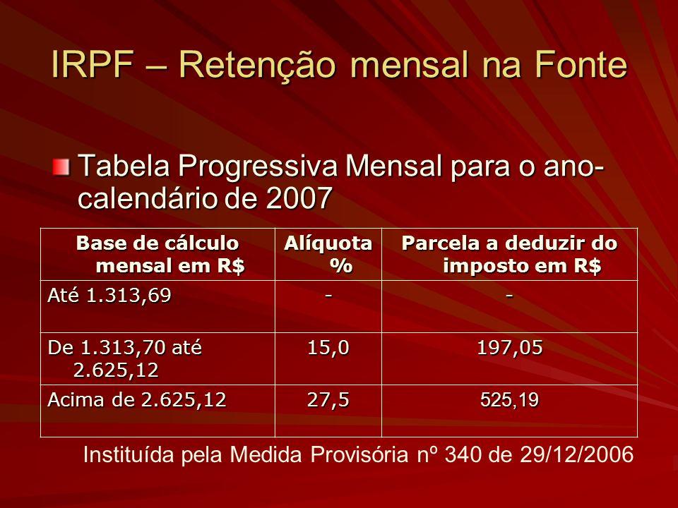 IRPF – Retenção mensal na Fonte Tabela Progressiva Mensal para o ano- calendário de 2007 Base de cálculo mensal em R$ Alíquota % Parcela a deduzir do