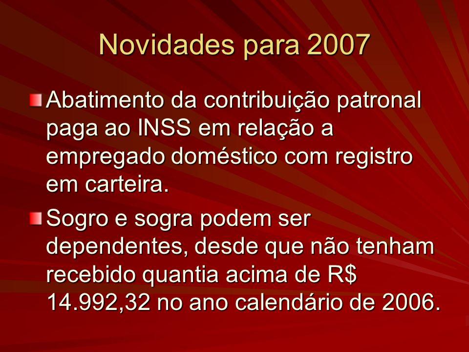 Novidades para 2007 Abatimento da contribuição patronal paga ao INSS em relação a empregado doméstico com registro em carteira. Sogro e sogra podem se