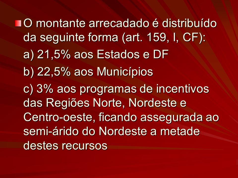 O montante arrecadado é distribuído da seguinte forma (art. 159, I, CF): a) 21,5% aos Estados e DF a) 21,5% aos Estados e DF b) 22,5% aos Municípios c