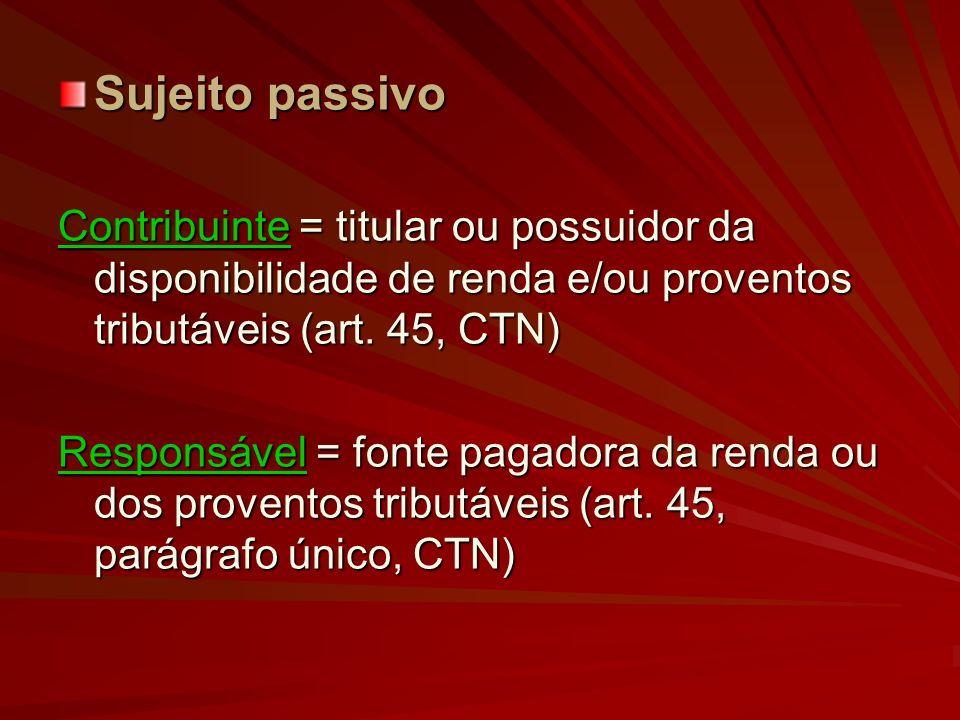 Sujeito passivo Contribuinte = titular ou possuidor da disponibilidade de renda e/ou proventos tributáveis (art. 45, CTN) Responsável = fonte pagadora