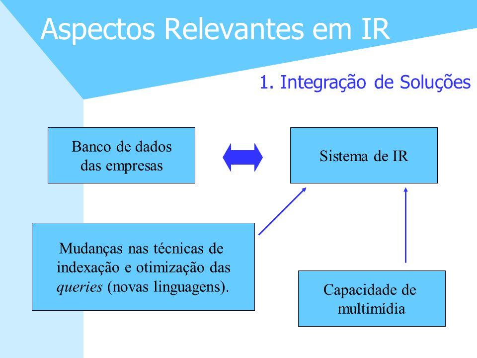 10 Aspectos Relevantes em IR 1. Integração de Soluções Banco de dados das empresas Sistema de IR Mudanças nas técnicas de indexação e otimização das q