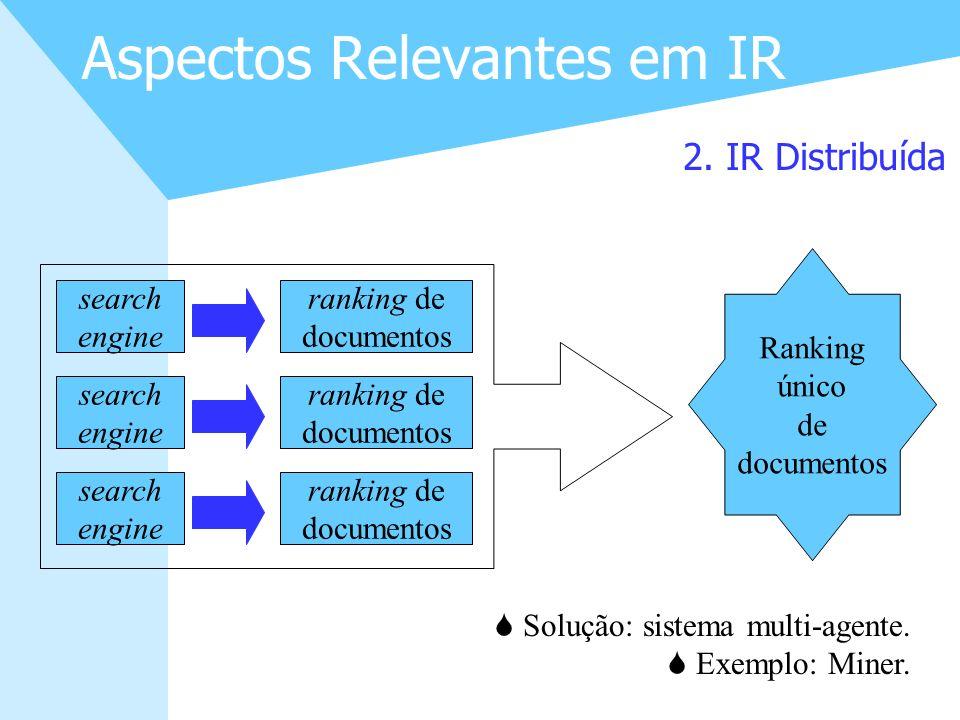 11 Aspectos Relevantes em IR 2. IR Distribuída S Solução: sistema multi-agente. S Exemplo: Miner. search engine search engine search engine ranking de