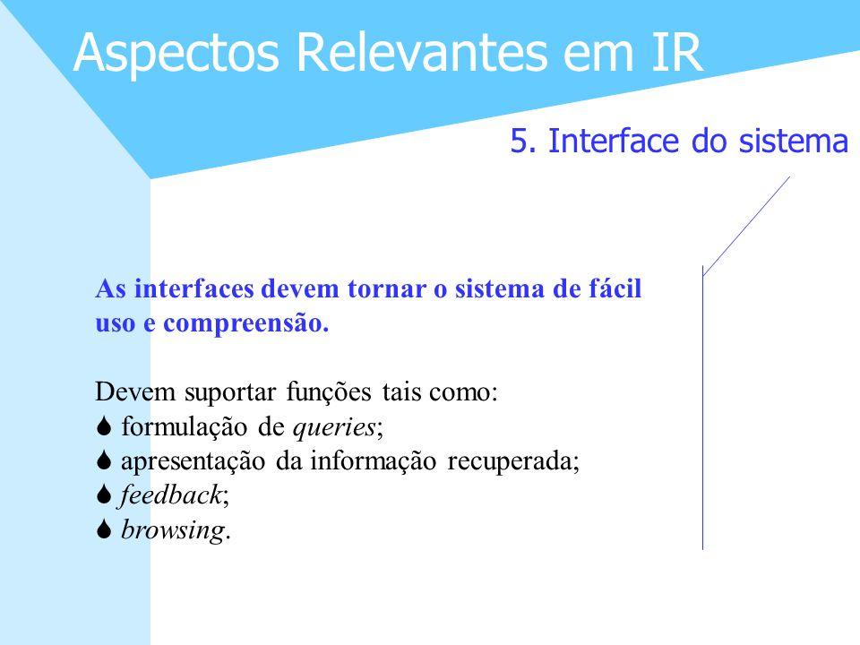 14 Aspectos Relevantes em IR 5. Interface do sistema As interfaces devem tornar o sistema de fácil uso e compreensão. Devem suportar funções tais como