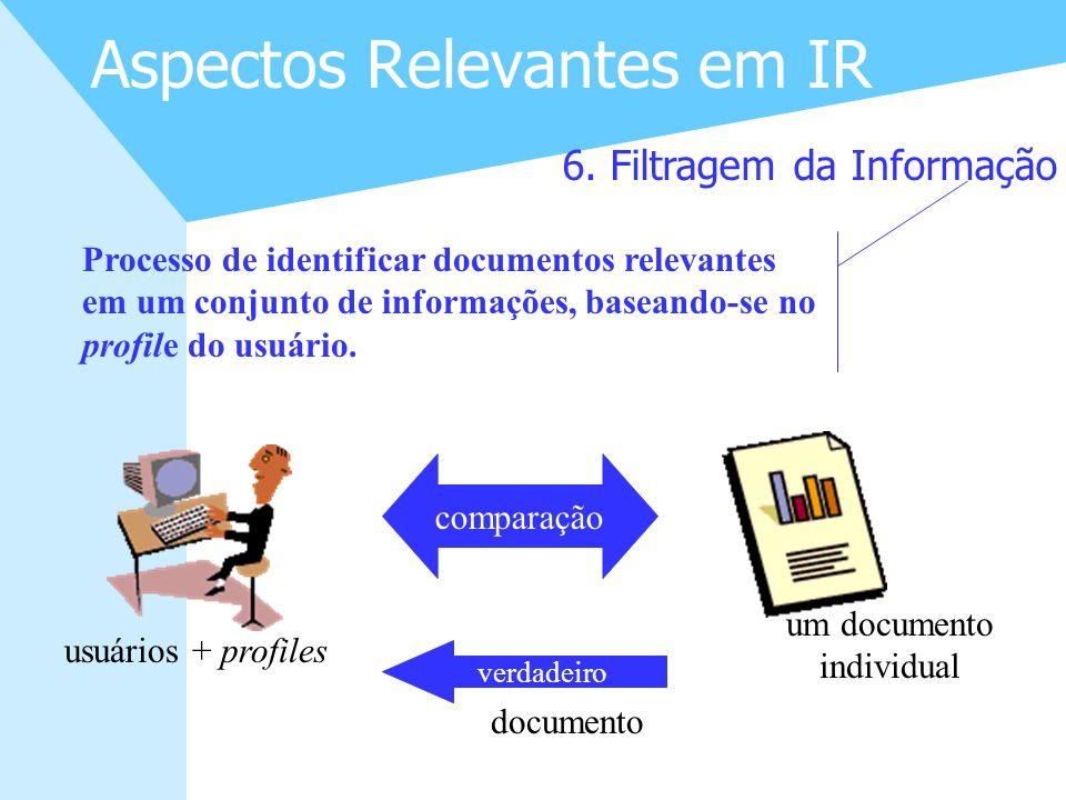 15 Aspectos Relevantes em IR 6. Filtragem da Informação Processo de identificar documentos relevantes em um conjunto de informações, baseando-se no pr