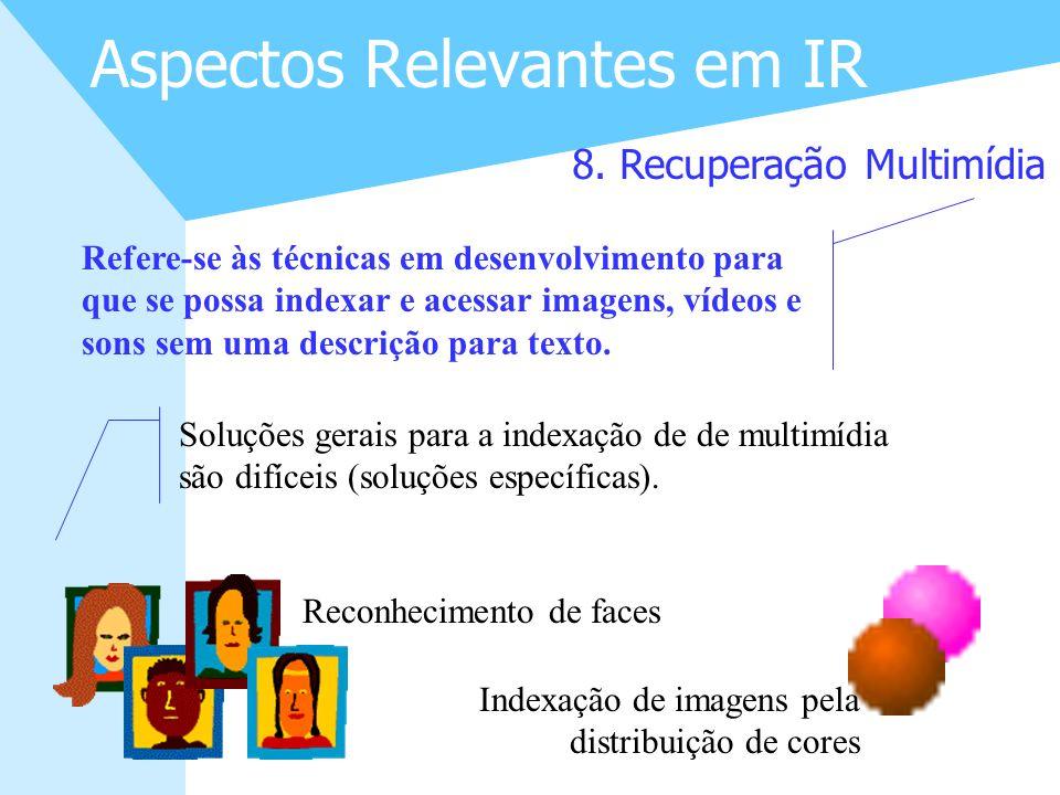 19 Aspectos Relevantes em IR 8. Recuperação Multimídia Refere-se às técnicas em desenvolvimento para que se possa indexar e acessar imagens, vídeos e