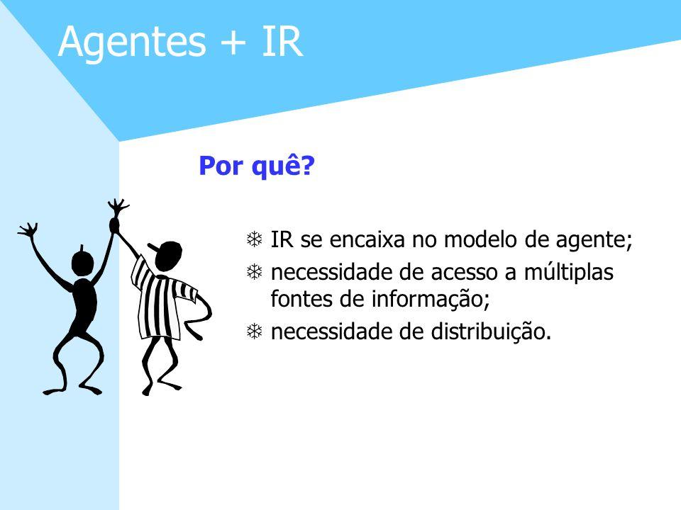 27 Agentes + IR TIR se encaixa no modelo de agente; Tnecessidade de acesso a múltiplas fontes de informação; Tnecessidade de distribuição. Por quê?