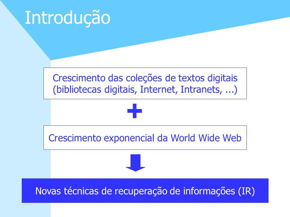 3 Introdução Crescimento das coleções de textos digitais (bibliotecas digitais, Internet, Intranets,...) Crescimento exponencial da World Wide Web Nov