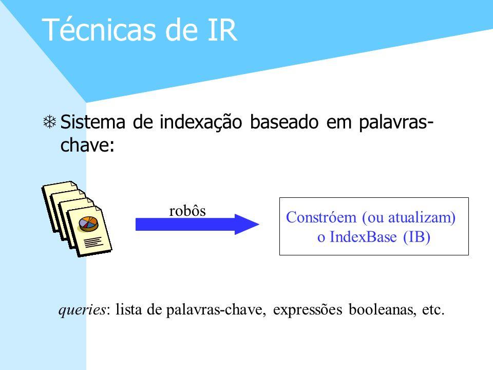 5 Técnicas de IR TSistema de indexação baseado em palavras- chave: Constróem (ou atualizam) o IndexBase (IB) robôs queries: lista de palavras-chave, e