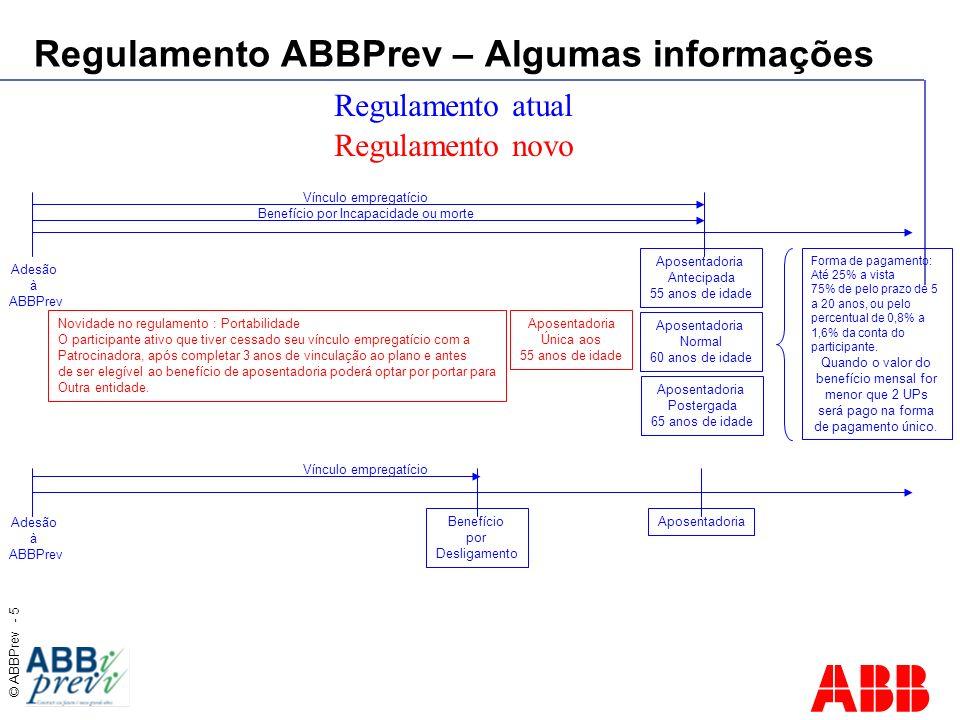 © ABBPrev - 5 Regulamento ABBPrev – Algumas informações Adesão à ABBPrev Regulamento atual Aposentadoria Antecipada 55 anos de idade Aposentadoria Nor