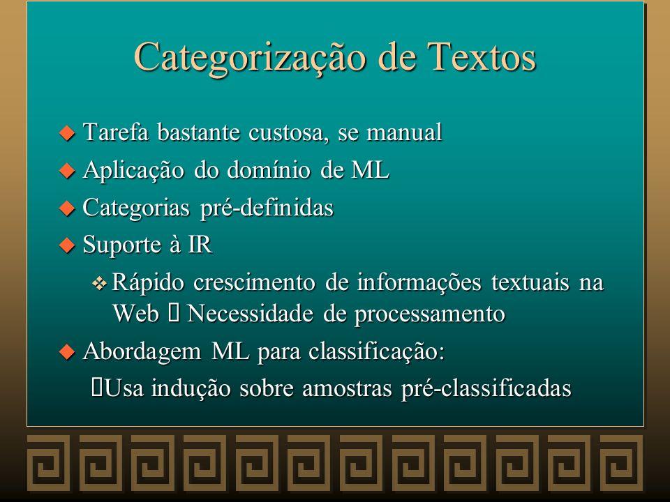 Filtragem de Informação (Extração de Conceitos salientes em Documentos) u Abordagem PLN: Sumarização de Documentos Formato particular é Self-Consuming