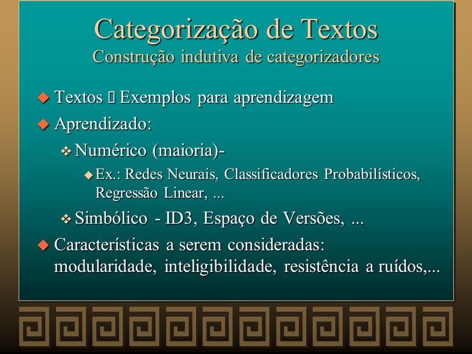 Categorização de Textos u Visão unificada: v Categ. Textos = ML + IR + Conhec. Adicional Texto inicial CategorizaçãoIndução Conhecimento Adicional Rep