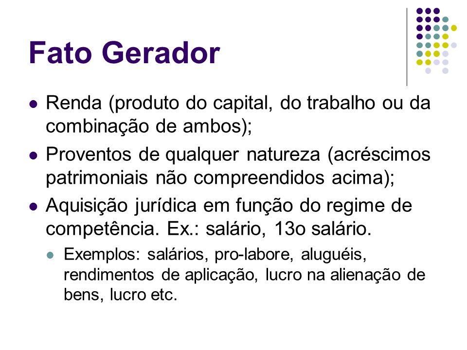 Fato Gerador Renda (produto do capital, do trabalho ou da combinação de ambos); Proventos de qualquer natureza (acréscimos patrimoniais não compreendi