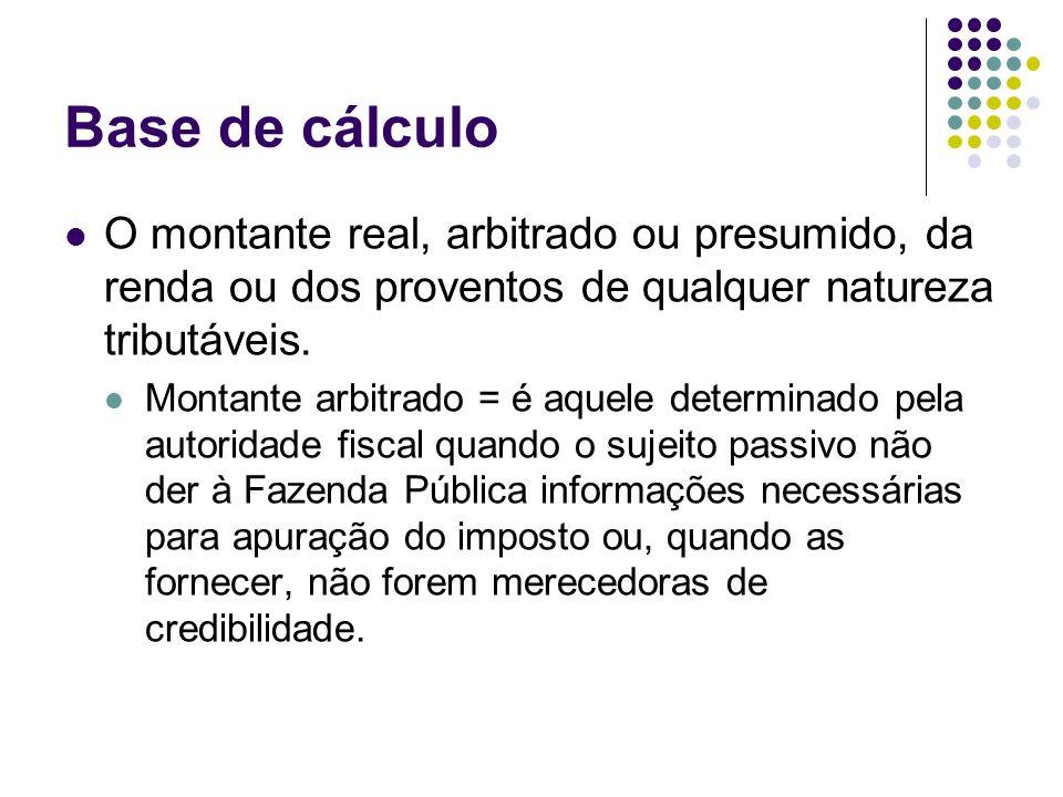 Base de cálculo O montante real, arbitrado ou presumido, da renda ou dos proventos de qualquer natureza tributáveis. Montante arbitrado = é aquele det