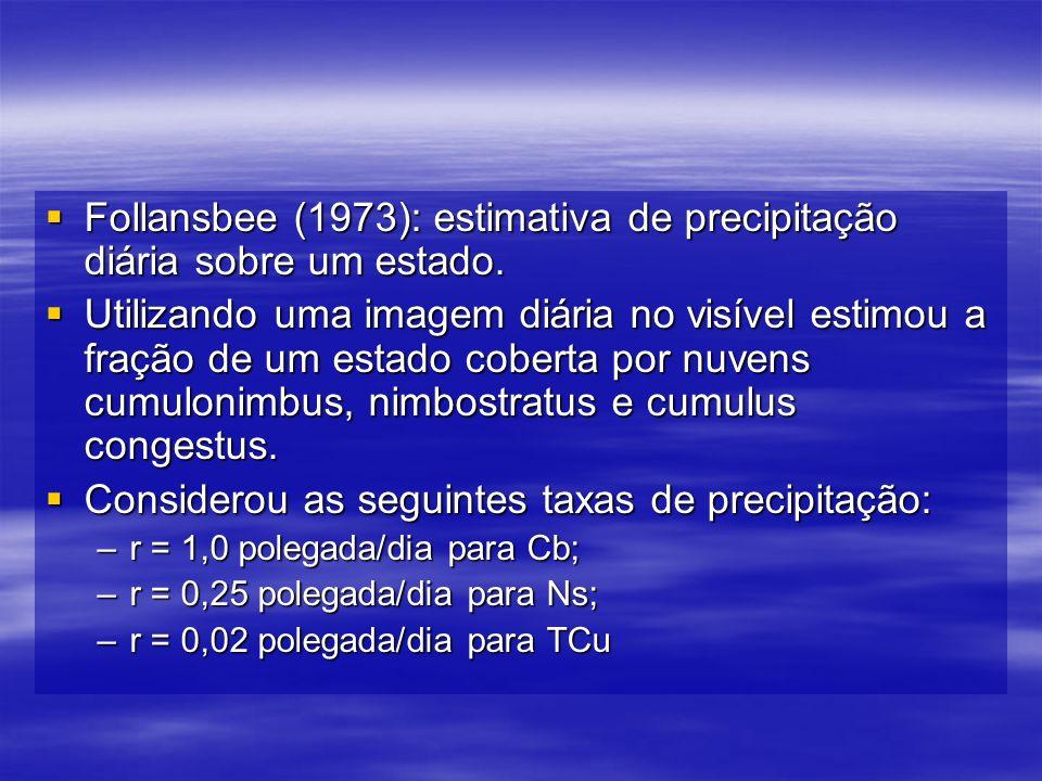 Follansbee (1973): estimativa de precipitação diária sobre um estado.