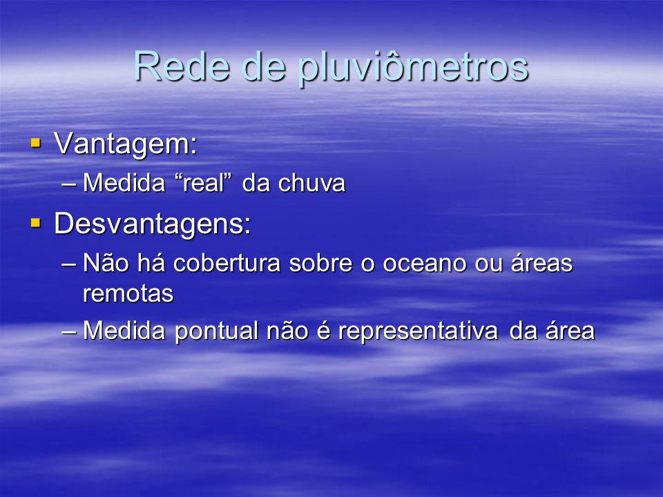 Rede de pluviômetros Vantagem: Vantagem: –Medida real da chuva Desvantagens: Desvantagens: –Não há cobertura sobre o oceano ou áreas remotas –Medida pontual não é representativa da área