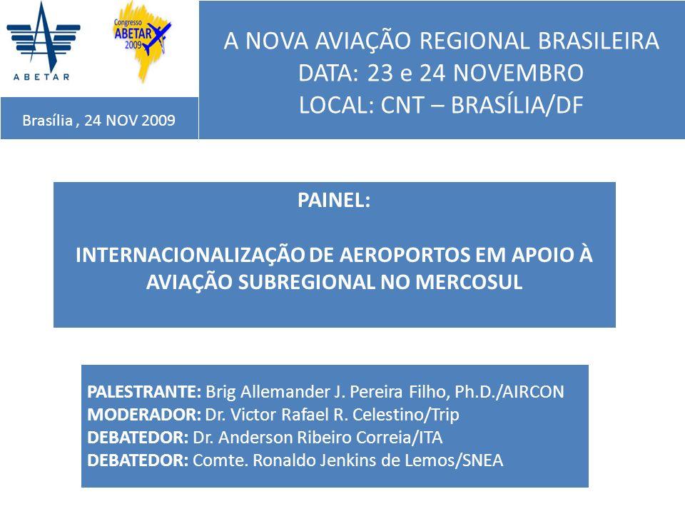 INTERNACIONALIZAÇÃO DE AEROPORTOS EM APOIO À AVIAÇÃO SUBREGIONAL NO MERCOSUL Brasília, 24 NOV 2009 PRINCIPAIS OBSERVAÇÕES QUANTO AOS RESULTADOS DOS ESTUDOS Na escolha dos aeroportos de apoio à aviação regional os resultados dos dois estudos (IAC-ITA) indicaram IItajaí-Navegantes, (SC) Londrina (PR) e Caxias do Sul (RS) nas cinco primeiras colocações; Os municípios de Cascavel e Toledo obtiveram boa colocação na hierarquia final.