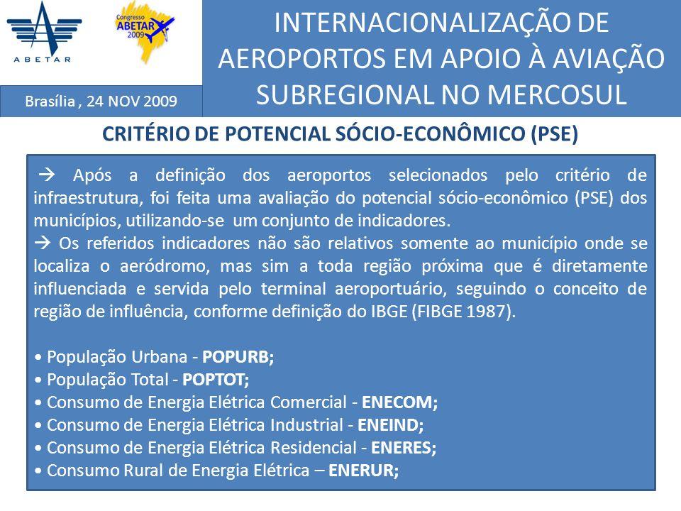 INTERNACIONALIZAÇÃO DE AEROPORTOS EM APOIO À AVIAÇÃO SUBREGIONAL NO MERCOSUL Brasília, 24 NOV 2009 CRITÉRIO DE POTENCIAL SÓCIO-ECONÔMICO (PSE) Após a