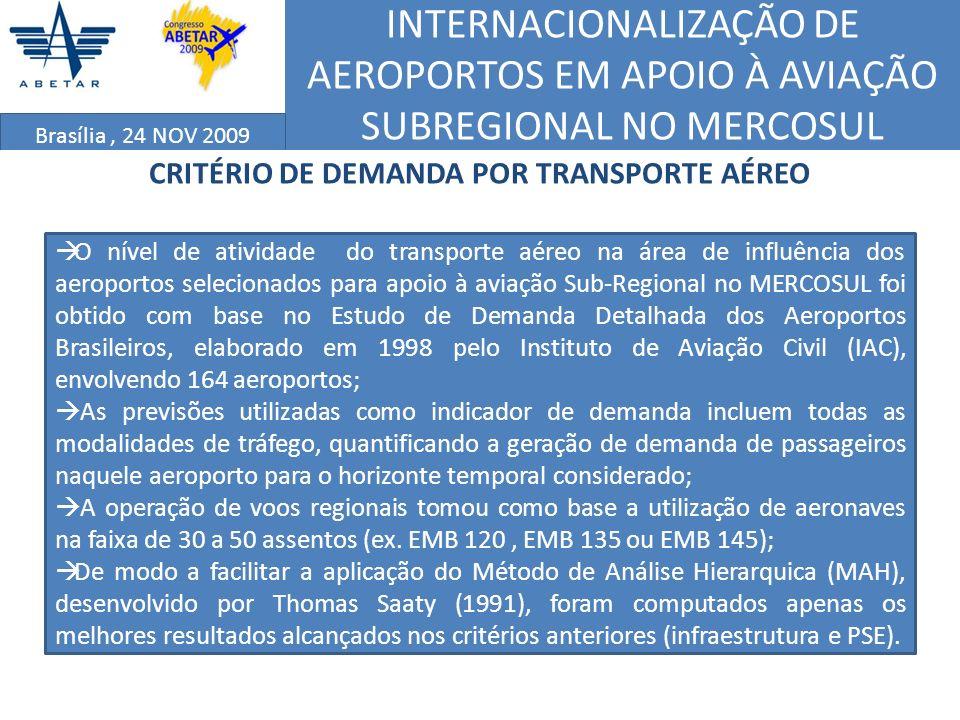 INTERNACIONALIZAÇÃO DE AEROPORTOS EM APOIO À AVIAÇÃO SUBREGIONAL NO MERCOSUL Brasília, 24 NOV 2009 CRITÉRIO DE DEMANDA POR TRANSPORTE AÉREO O nível de