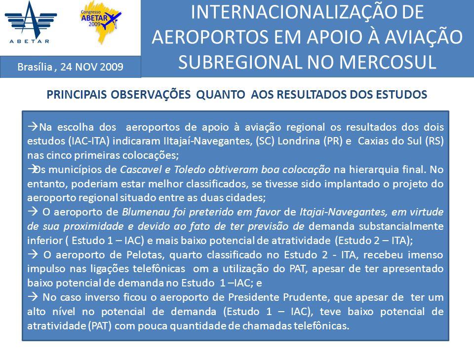 INTERNACIONALIZAÇÃO DE AEROPORTOS EM APOIO À AVIAÇÃO SUBREGIONAL NO MERCOSUL Brasília, 24 NOV 2009 PRINCIPAIS OBSERVAÇÕES QUANTO AOS RESULTADOS DOS ES