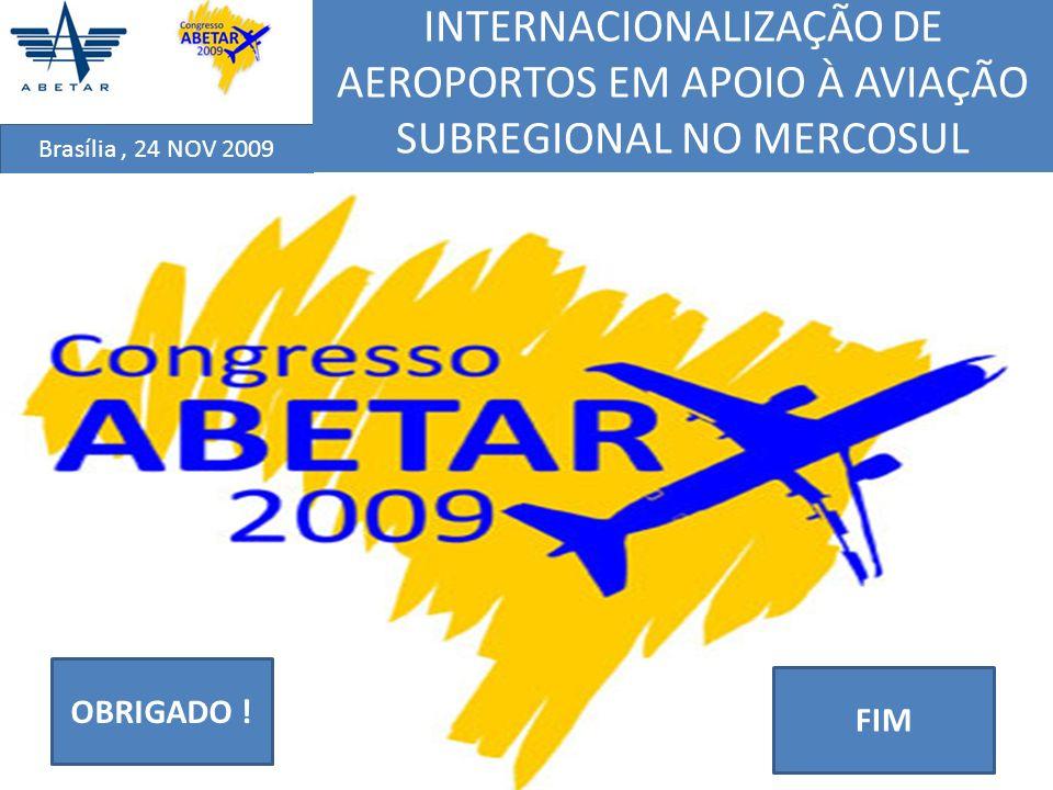 Brasília, 24 NOV 2009 INTERNACIONALIZAÇÃO DE AEROPORTOS EM APOIO À AVIAÇÃO SUBREGIONAL NO MERCOSUL FIM OBRIGADO !