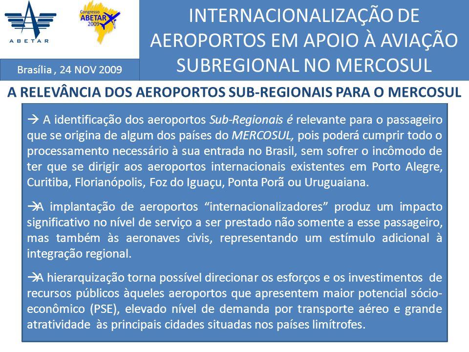 INTERNACIONALIZAÇÃO DE AEROPORTOS EM APOIO À AVIAÇÃO SUBREGIONAL NO MERCOSUL Brasília, 24 NOV 2009 INFRAESTRUTURA AEROPORTUÁRIA EXISTENTE ( 1 – IAC e 2 – ITA); POTENCIAL SÓCIO-ECONÔMICO (1-IAC e 2 – ITA); DEMANDA POR TRANSPORTE AÉREO (1- IAC); e POTENCIAL DE ATRATIVIDADE (2 – ITA) CRITÉRIOS DE ANÁLISE UTILIZADOS NA SELEÇÃO DOS AEROPORTOS, CONSIDERANDO O ESTUDO 1 (IAC) E O ESTUDO 2 (ITA)
