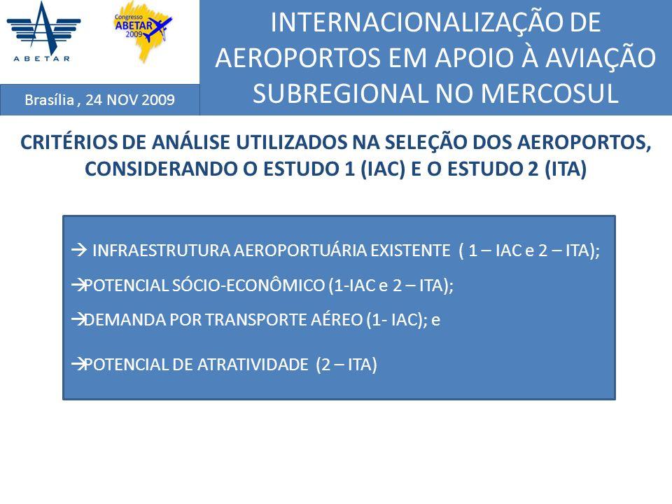 INTERNACIONALIZAÇÃO DE AEROPORTOS EM APOIO À AVIAÇÃO SUBREGIONAL NO MERCOSUL Brasília, 24 NOV 2009 CRITÉRIO DE POTENCIAL DE ATRATIVIDADE (PAT) O critério de Potencial de Atratividade (PAT) foi definido com relação ao Mercosul, utilizando-se um indicador que fosse capaz de carregar informações de negócios, turismo, cultura, etc, entre duas regiões distintas; Os dados de telefonia obtidos junto à Embratel, foram utilizados no tratamento específico do PAT por representar a relação comercial, turística ou cultural entre cidades (regiões); A classificação com relação ao PSE tornou possível a redução no número de alternativas (cidades), devido à complexidade e aos altos custos envolvidos na obtençãos dos dados de telefonia, permitindo também mais rapidez na obtenção dos dados; e Apesar disso, visando manter um grau de confiança no resultado final, decidiu-se manter um número grande de alternativas em relação à expectativa da quantidade de aeroportos a serem internacionalizados (estimado entre 3 e 5).