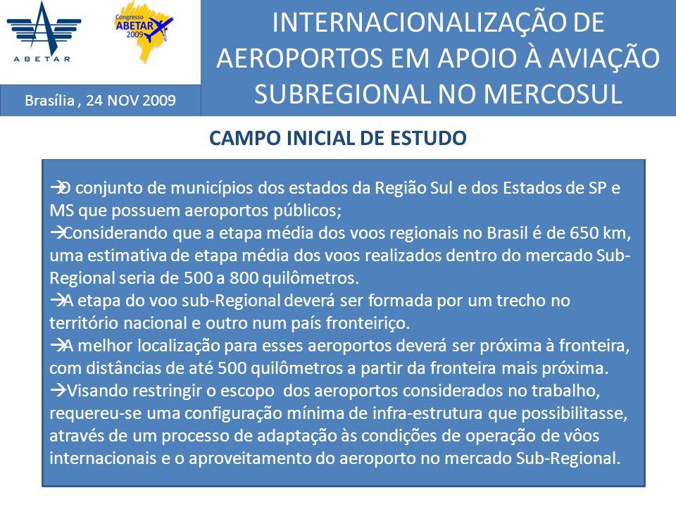 INTERNACIONALIZAÇÃO DE AEROPORTOS EM APOIO À AVIAÇÃO SUBREGIONAL NO MERCOSUL Brasília, 24 NOV 2009 O conjunto de municípios dos estados da Região Sul
