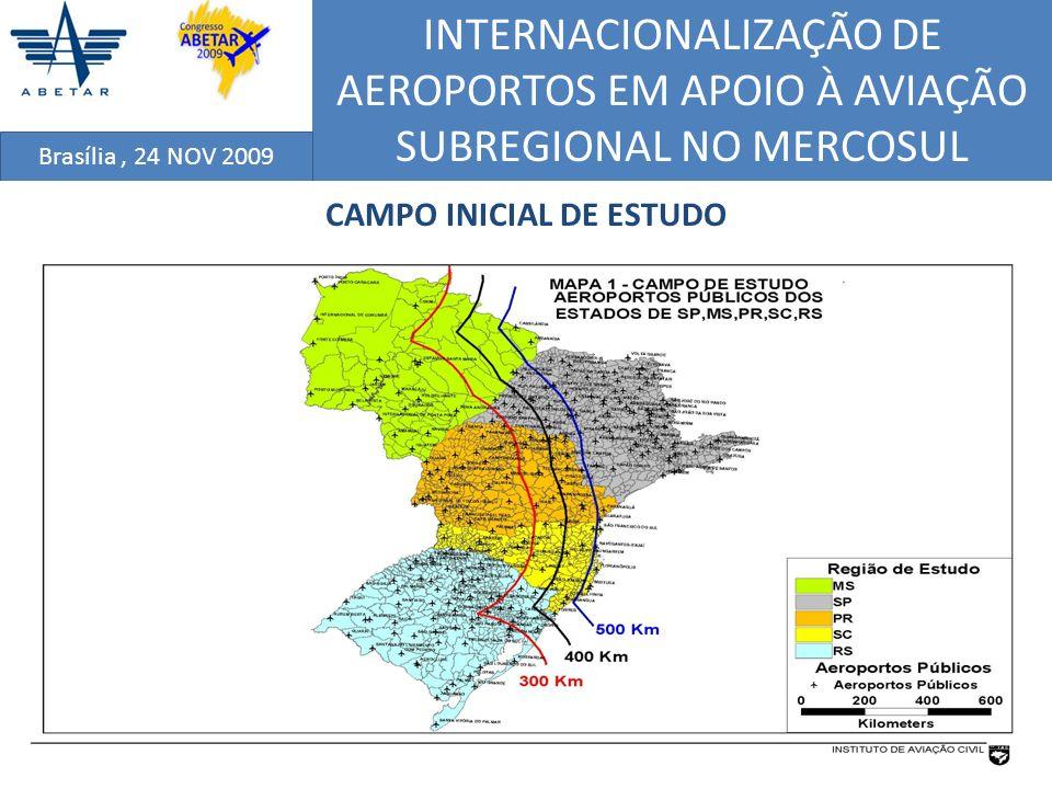 INTERNACIONALIZAÇÃO DE AEROPORTOS EM APOIO À AVIAÇÃO SUBREGIONAL NO MERCOSUL Brasília, 24 NOV 2009 CRITÉRIO DE INFRAESTRUTURA AEROPORTUÁRIA EXISTENTE A partir do campo de estudos definido pelos aeroportos públicos brasileiros situados na Região Sul (Paraná, Santa Catarina e Rio Grande do Sul) e nos Estados de SP e MS) ; considerou-se apenas os aeroportos públicos localizados com distâncias de até 500 km (300 km, 400 km e 500 km) da linha de fronteira mais próxima; que possuam pista de pouso e decolagem de comprimento igual ou superior a 1.200 metros, com pavimento asfáltico ou concretado ; e também dotados de terminal de passageiros.