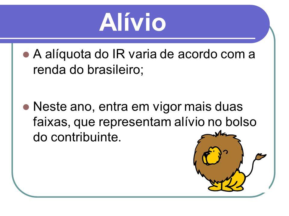 Alívio A alíquota do IR varia de acordo com a renda do brasileiro; Neste ano, entra em vigor mais duas faixas, que representam alívio no bolso do contribuinte.