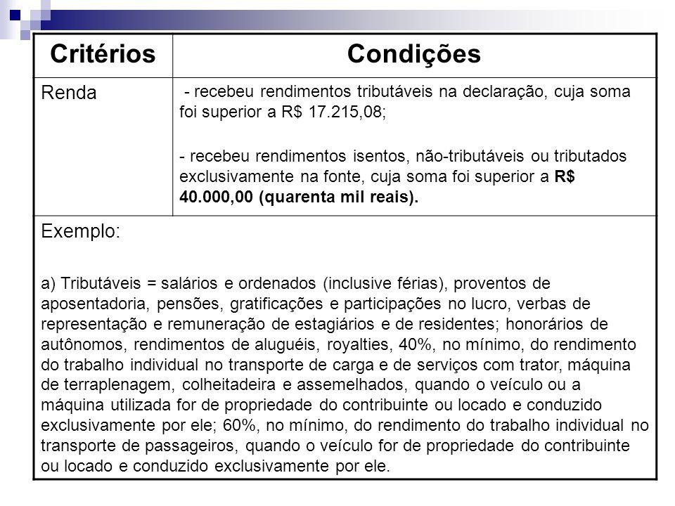 CritériosCondições Renda - recebeu rendimentos tributáveis na declaração, cuja soma foi superior a R$ 17.215,08; - recebeu rendimentos isentos, não-tributáveis ou tributados exclusivamente na fonte, cuja soma foi superior a R$ 40.000,00 (quarenta mil reais).