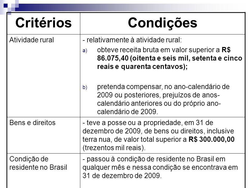 CritériosCondições Atividade rural- relativamente à atividade rural: a) obteve receita bruta em valor superior a R$ 86.075,40 (oitenta e seis mil, setenta e cinco reais e quarenta centavos); b) pretenda compensar, no ano-calendário de 2009 ou posteriores, prejuízos de anos- calendário anteriores ou do próprio ano- calendário de 2009.