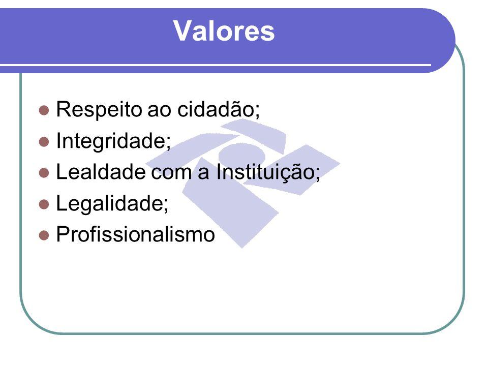 Valores Respeito ao cidadão; Integridade; Lealdade com a Instituição; Legalidade; Profissionalismo
