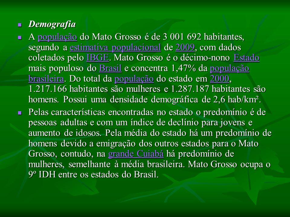 Demografia Demografia A população do Mato Grosso é de 3 001 692 habitantes, segundo a estimativa populacional de 2009, com dados coletados pelo IBGE.