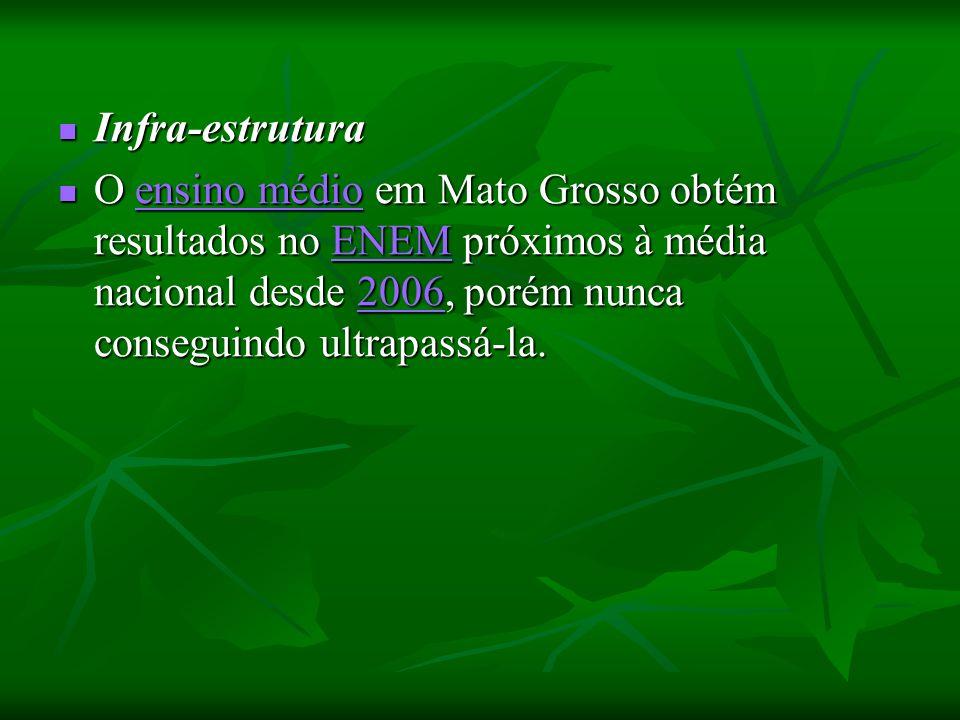 Infra-estrutura Infra-estrutura O ensino médio em Mato Grosso obtém resultados no ENEM próximos à média nacional desde 2006, porém nunca conseguindo ultrapassá-la.