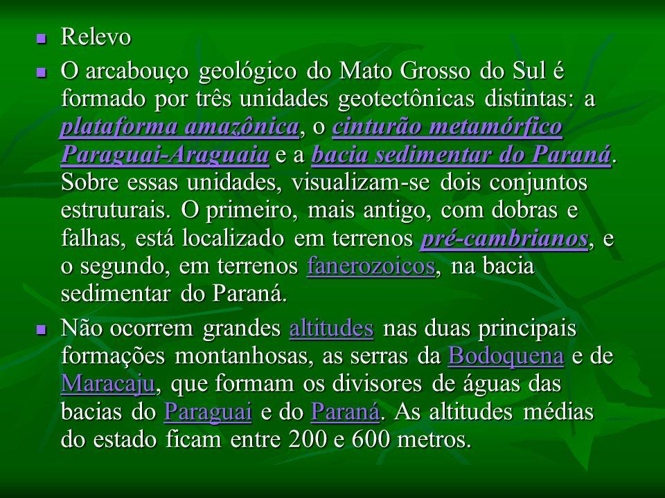 Relevo Relevo O arcabouço geológico do Mato Grosso do Sul é formado por três unidades geotectônicas distintas: a plataforma amazônica, o cinturão metamórfico Paraguai-Araguaia e a bacia sedimentar do Paraná.