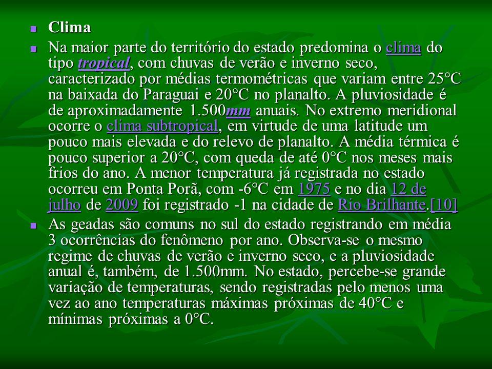 Clima Clima Na maior parte do território do estado predomina o clima do tipo tropical, com chuvas de verão e inverno seco, caracterizado por médias termométricas que variam entre 25°C na baixada do Paraguai e 20°C no planalto.
