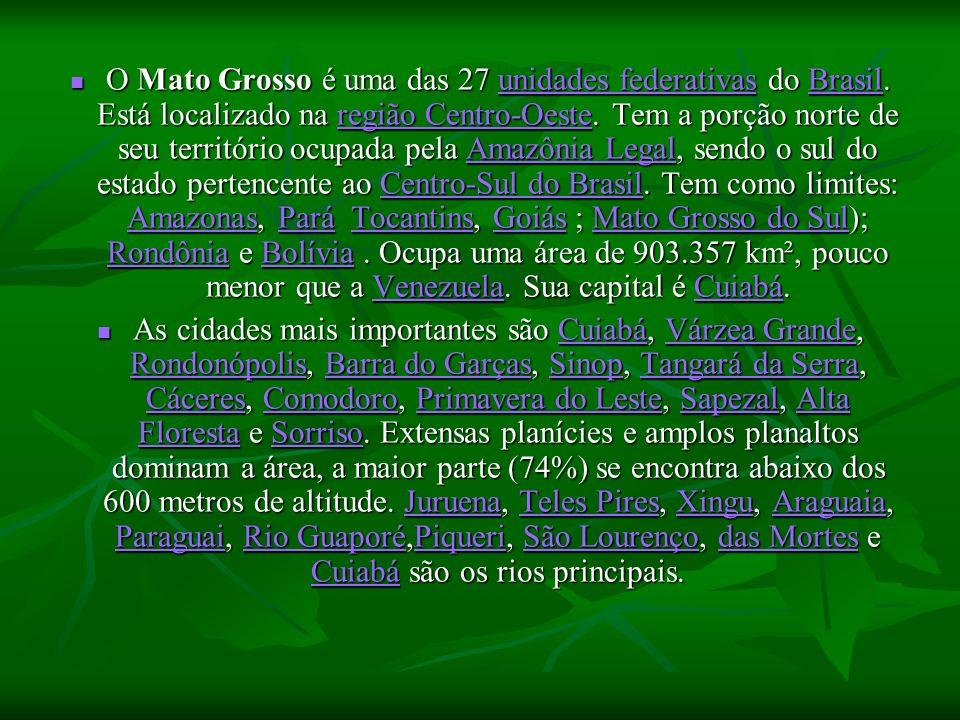 O Mato Grosso é uma das 27 unidades federativas do Brasil. Está localizado na região Centro-Oeste. Tem a porção norte de seu território ocupada pela A
