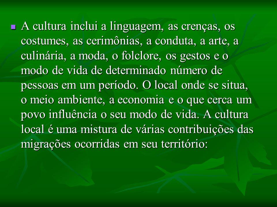 A cultura inclui a linguagem, as crenças, os costumes, as cerimônias, a conduta, a arte, a culinária, a moda, o folclore, os gestos e o modo de vida d