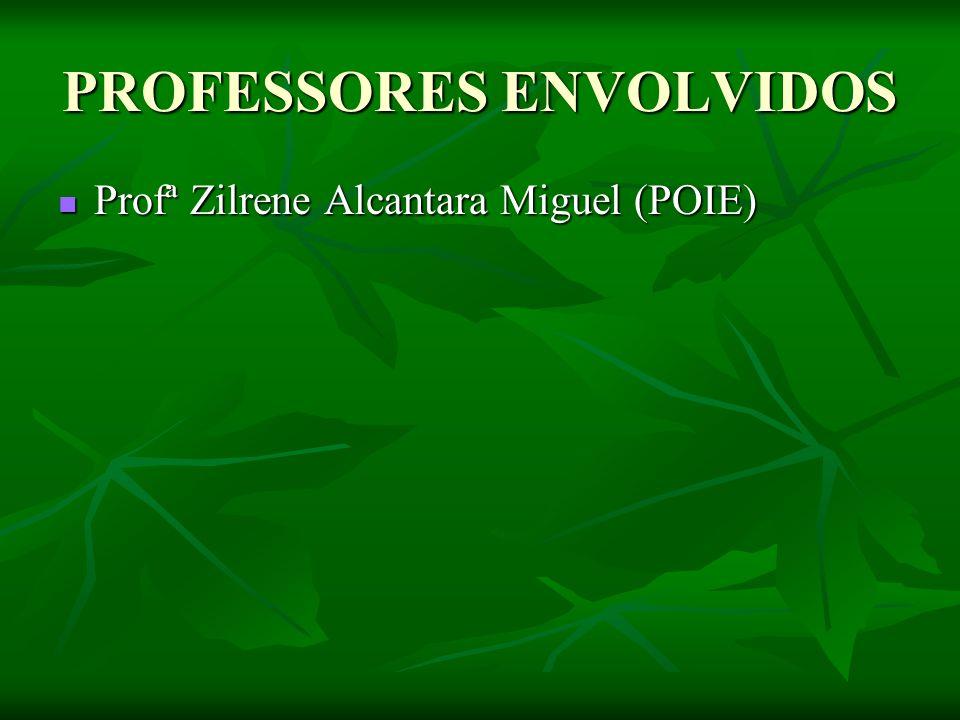 PROFESSORES ENVOLVIDOS Profª Zilrene Alcantara Miguel (POIE) Profª Zilrene Alcantara Miguel (POIE)