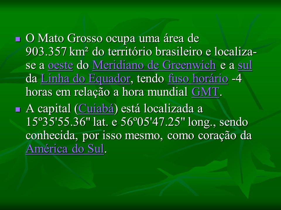 O Mato Grosso ocupa uma área de 903.357 km² do território brasileiro e localiza- se a oeste do Meridiano de Greenwich e a sul da Linha do Equador, tendo fuso horário -4 horas em relação a hora mundial GMT.