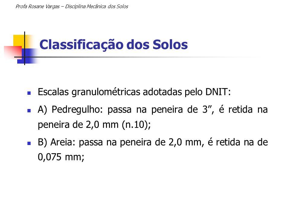 Classificação dos Solos Escalas granulométricas adotadas pelo DNIT: A) Pedregulho: passa na peneira de 3, é retida na peneira de 2,0 mm (n.10); B) Are