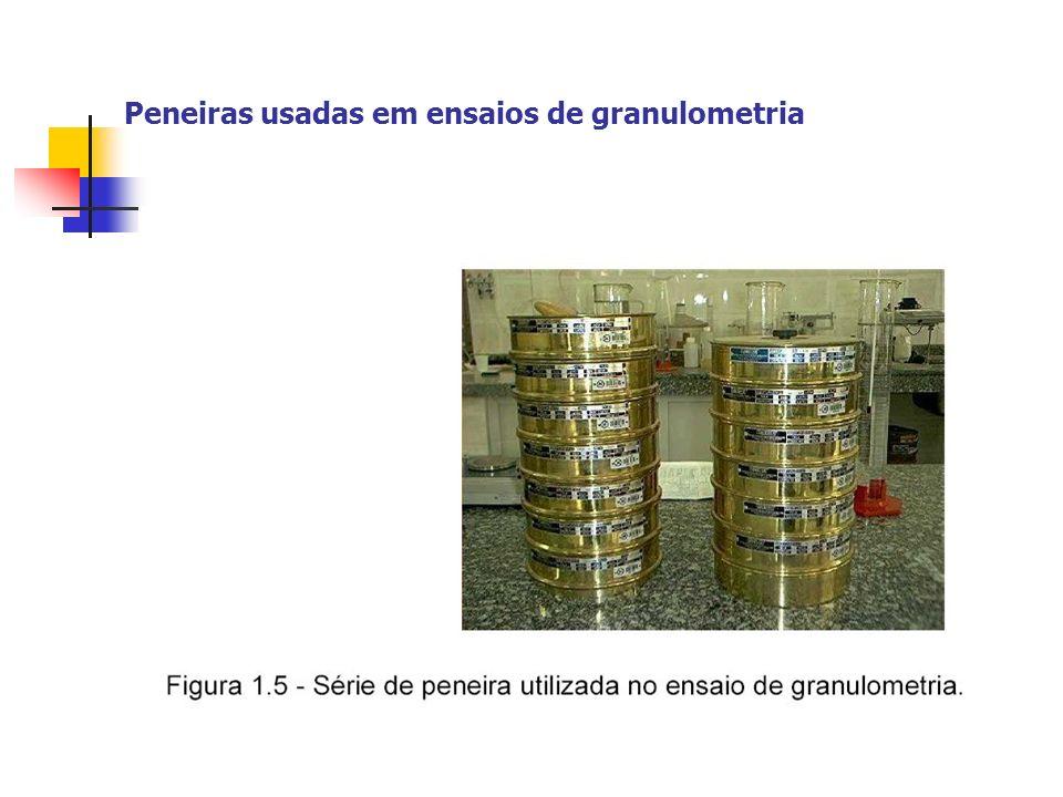 Peneiras usadas em ensaios de granulometria