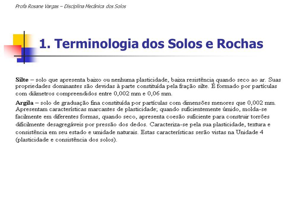 1. Terminologia dos Solos e Rochas Profa Rosane Vargas – Disciplina Mecânica dos Solos