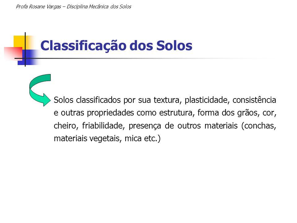 Classificação dos Solos Solos classificados por sua textura, plasticidade, consistência e outras propriedades como estrutura, forma dos grãos, cor, ch