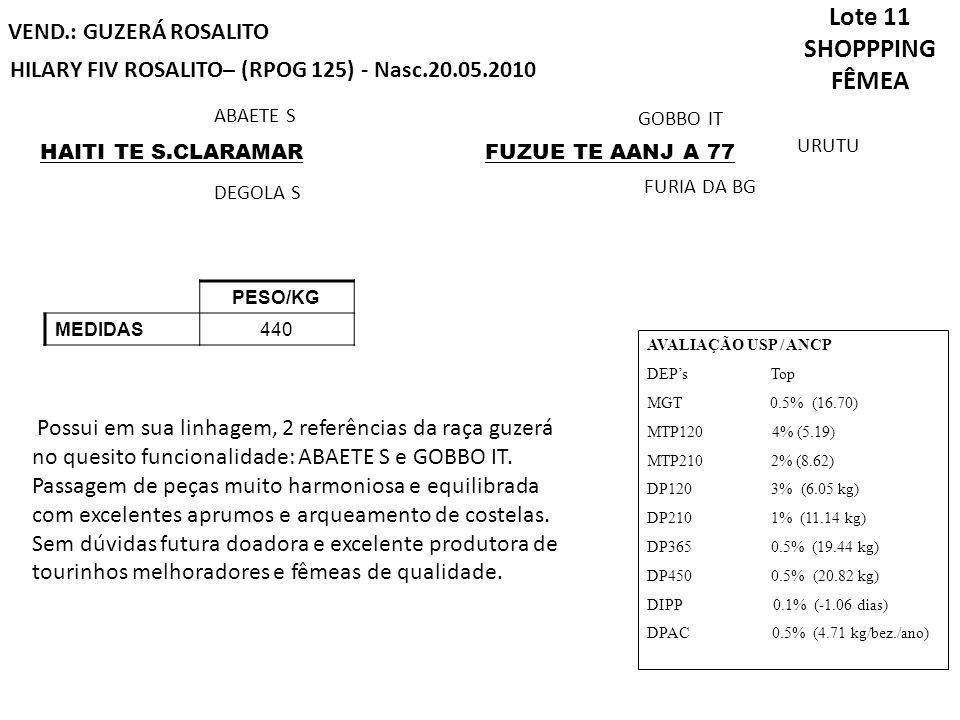 Lote 11 SHOPPPING FÊMEA VEND.: GUZERÁ ROSALITO HILARY FIV ROSALITO– (RPOG 125) - Nasc.20.05.2010 PESO/KG MEDIDAS440 HAITI TE S.CLARAMAR DEGOLA S FUZUE