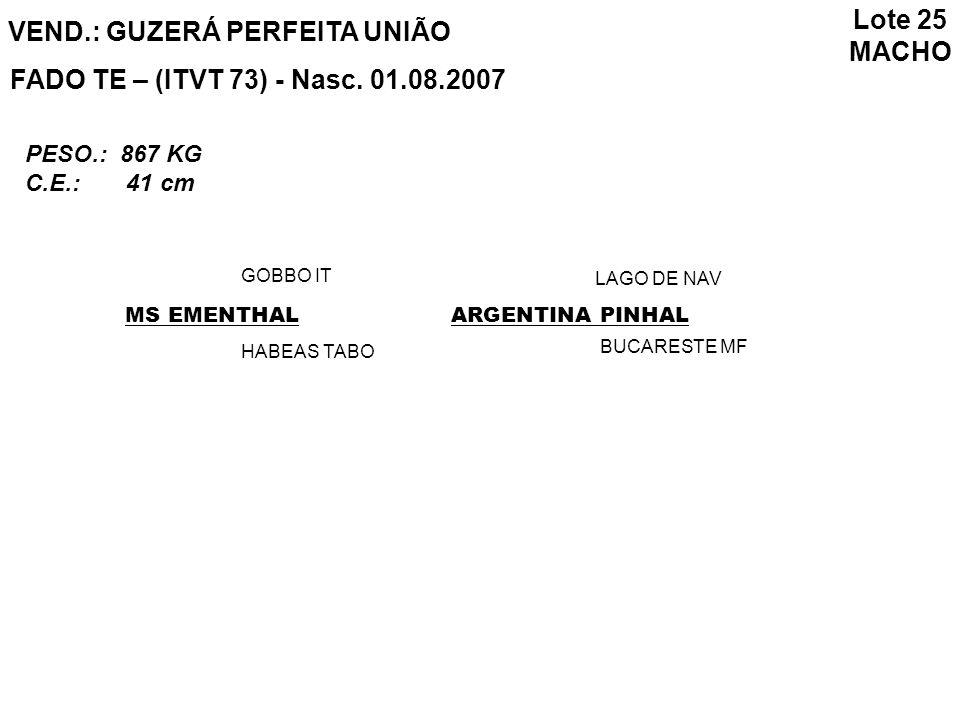 Lote 25 MACHO VEND.: GUZERÁ PERFEITA UNIÃO FADO TE – (ITVT 73) - Nasc. 01.08.2007 MS EMENTHAL GOBBO IT HABEAS TABO ARGENTINA PINHAL LAGO DE NAV BUCARE