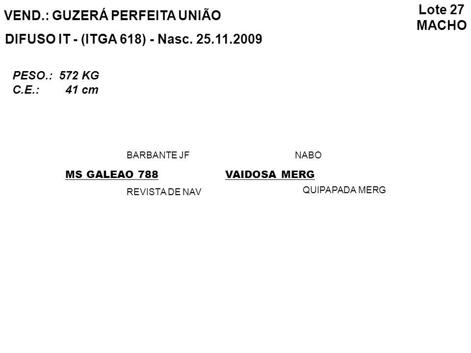 Lote 27 MACHO VEND.: GUZERÁ PERFEITA UNIÃO DIFUSO IT - (ITGA 618) - Nasc. 25.11.2009 PESO.: 572 KG C.E.: 41 cm MS GALEAO 788 BARBANTE JF REVISTA DE NA
