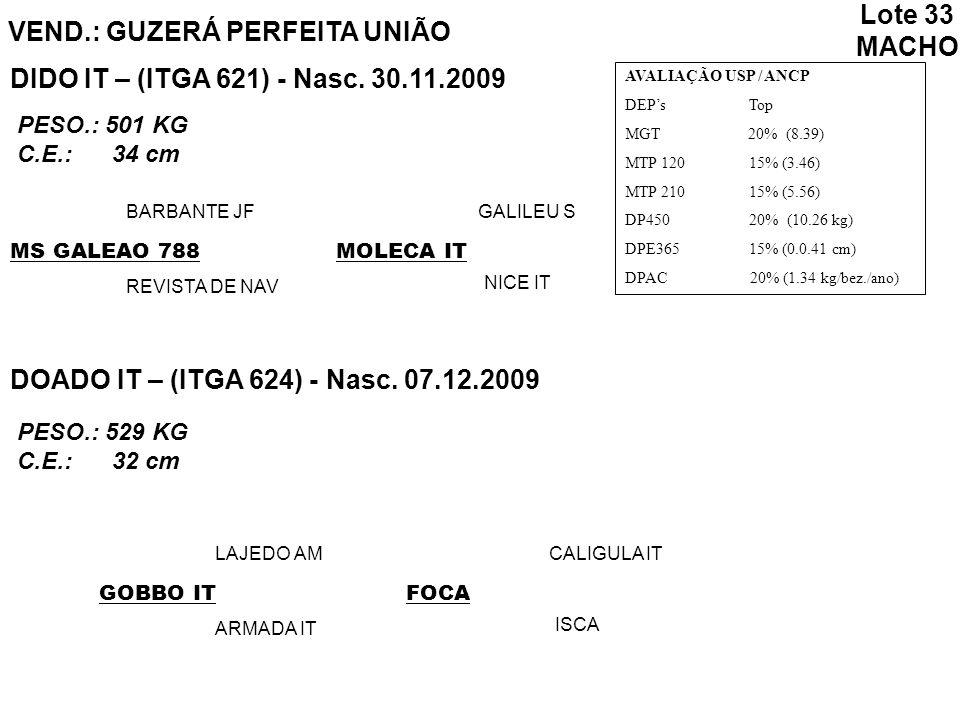 Lote 33 MACHO VEND.: GUZERÁ PERFEITA UNIÃO DIDO IT – (ITGA 621) - Nasc. 30.11.2009 AVALIAÇÃO USP / ANCP DEPs Top MGT 20% (8.39) MTP 120 15% (3.46) MTP
