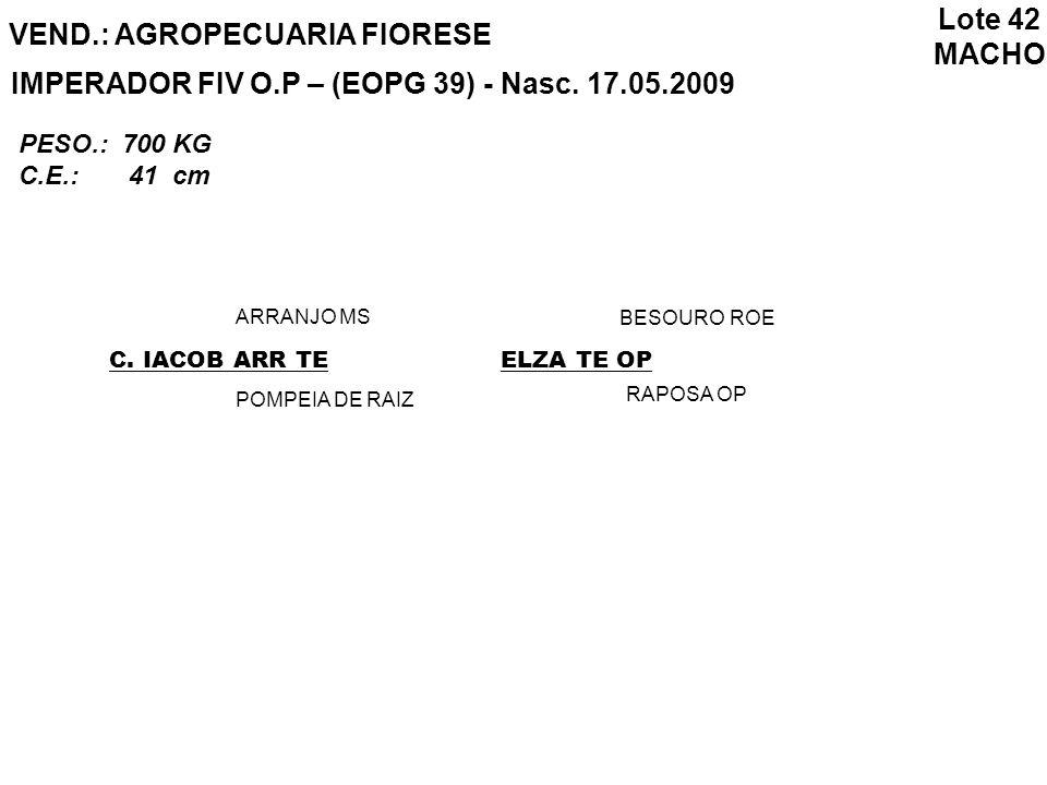 VEND.: AGROPECUARIA FIORESE IMPERADOR FIV O.P – (EOPG 39) - Nasc. 17.05.2009 C. IACOB ARR TE ARRANJO MS POMPEIA DE RAIZ ELZA TE OP BESOURO ROE RAPOSA